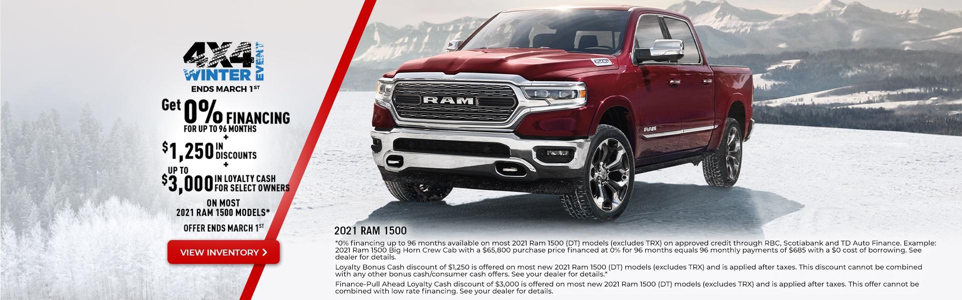 2021 RAM 1500 Promotional Banner